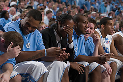28 December 2006: North Carolina Tarheels bench during a 87-48 Rutgers Scarlet Knights loss to the North Carolina Tarheels, in the Dean Smith Center in Chapel Hill, NC.<br />
