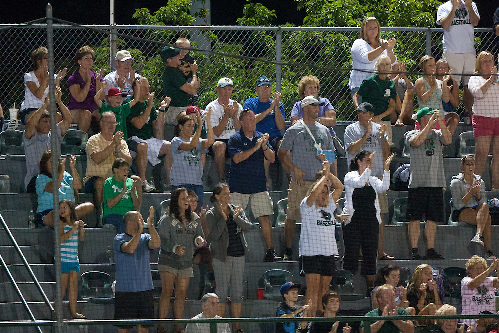 West Deptford fans celebrate Ed Essig homerun during the opening round of the Mid-Atlantic Senior League regional tournament held in West Deptford on Friday, August 5.t