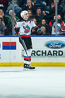 KELOWNA, BC - FEBRUARY 12: Matthew Wedman #20 of the Kelowna Rockets celebrates a first period goal, the second against the Tri-City Americans in the first period at Prospera Place on February 8, 2020 in Kelowna, Canada. (Photo by Marissa Baecker/Shoot the Breeze)