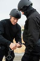 SWAT Team Preparing Climbing Equipment
