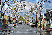Balboa Island Main Street After A Rain Storm