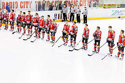 Players of Austria during Friendly Ice-hockey match between National teams of Slovenia and Austria on April 19, 2013 in Ice Arena Tabor, Maribor, Slovenia.  Slovenia defeated Austria 5-2. (Photo By Vid Ponikvar / Sportida)