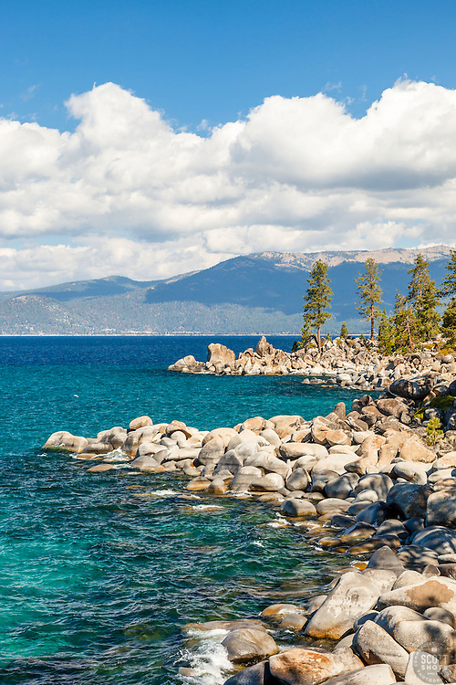 """Boulders at Lake Tahoe 48"" - These boulders and aqua blue waters were photographed along the East Shore of Lake Tahoe."