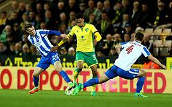Josh Murphy of Norwich City takes on Uwe Hunemeier of Brighton & Hove Albion - Mandatory by-line: Robbie Stephenson/JMP - 21/04/2017 - FOOTBALL - Carrow Road - Norwich, England - Norwich City v Brighton and Hove Albion - Sky Bet Championship