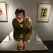 Alexander Lavrentiev (Lavrentyev), grandson of renowed Russian constructivist artist Alexander Rodchenko, poses for portrait at Rodchenko's exhibition in Moscow. Picture by Justin Jin.