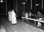 "Fr Niall O'Brien says Thanksgiving Mass.1984..16.07.1984..07.16.1984..16th July 1984..In celebration of his safe homecoming from the Philippines,Fr Niall O'Brien said a thanksgiving mass At Newtownpark Ave,Blackrock,Dublin. Along with two other priests and six lay people,Fr Niall was falsly accused of multiple murders.They became known as ""The Negros Nine"".After President Reagan visited Ireland,The American government put pressure on the Marcos regime and all charges were dropped and all were fully exonerated....Photograph taken as members of the congregation present the gifts to the altar...Note; Fr O'Brien, who was born in Dublin in 1939,died in Pisa, Italy in 2004."