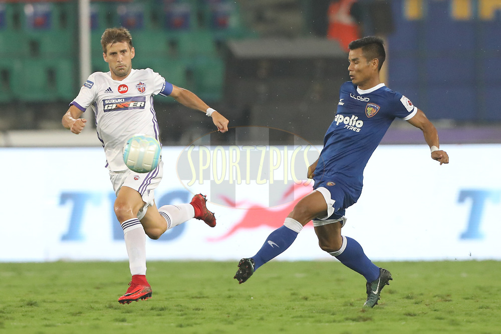 Emiliano Alfaro of FC Pune City during match 46 of the Hero Indian Super League between Chennaiyin FC and FC Pune City held at the Jawaharlal Nehru Stadium, Chennai India on the 13th January 2018<br /> <br /> Photo by: Arjun Singh  / ISL / SPORTZPICS