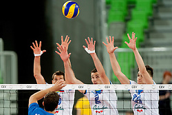 Alen Pajenk #2 and Klemen Cebulj #18 of Slovenia during qualifications match for FIVB Men's World Championship 2014 between National team Slovenia and Israel in pool B on May 24, 2013 in SRC Stozice, Ljubljana, Slovenia. (Photo By Urban Urbanc / Sportida)