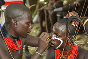 Africa, Ethiopia, Omo River Valley Hamer Tribesmen ready for the start of the Jumping of the Bulls ceremony
