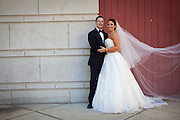 Wedding photograph taken at Michigan Avenue Bridge in Chicago, Illinois. Photography by Will Rice for Eight One Seven Photography. September 27, 2013.