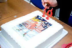 Cake of Petra Majdic at press conference on the day of her birthday, after she came back from Dusseldorf, where she won the sprint race, on December 22, 2008, Ljubljana, Slovenia. (Photo by Vid Ponikvar / SportIda).