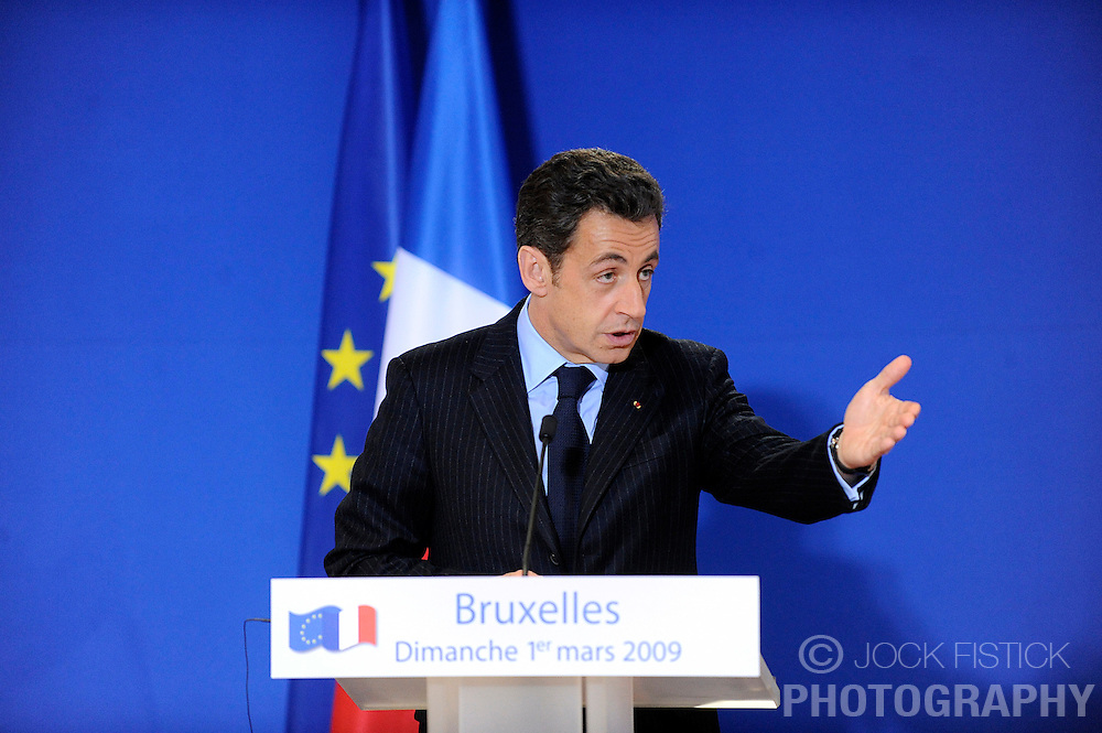 Nicolas Sarkozy, France's president, speaks during a news conference following the European Union summit at EU headquarters in Brussels, Belgium, on Sunday, March. 1, 2009. .(Photo © Jock Fistick)