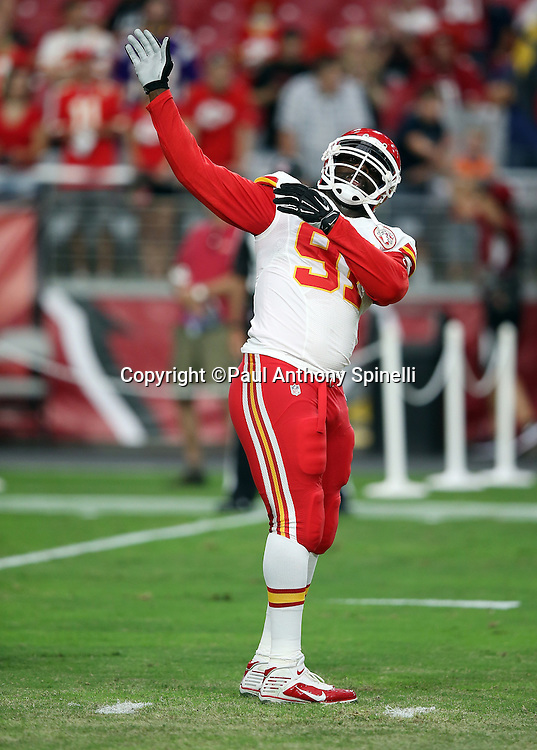 Kansas City Chiefs outside linebacker Tamba Hali (91) stretches before the 2015 NFL preseason football game against the Arizona Cardinals on Saturday, Aug. 15, 2015 in Glendale, Ariz. The Chiefs won the game 34-19. (©Paul Anthony Spinelli)
