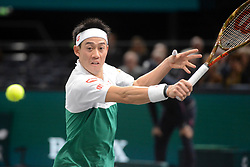 October 31, 2018 - Paris, France - KEI NISHIKORI of Japan during his second round match in the Rolex Paris Masters tennis tournament in Paris France. (Credit Image: © Christopher Levy/ZUMA Wire)