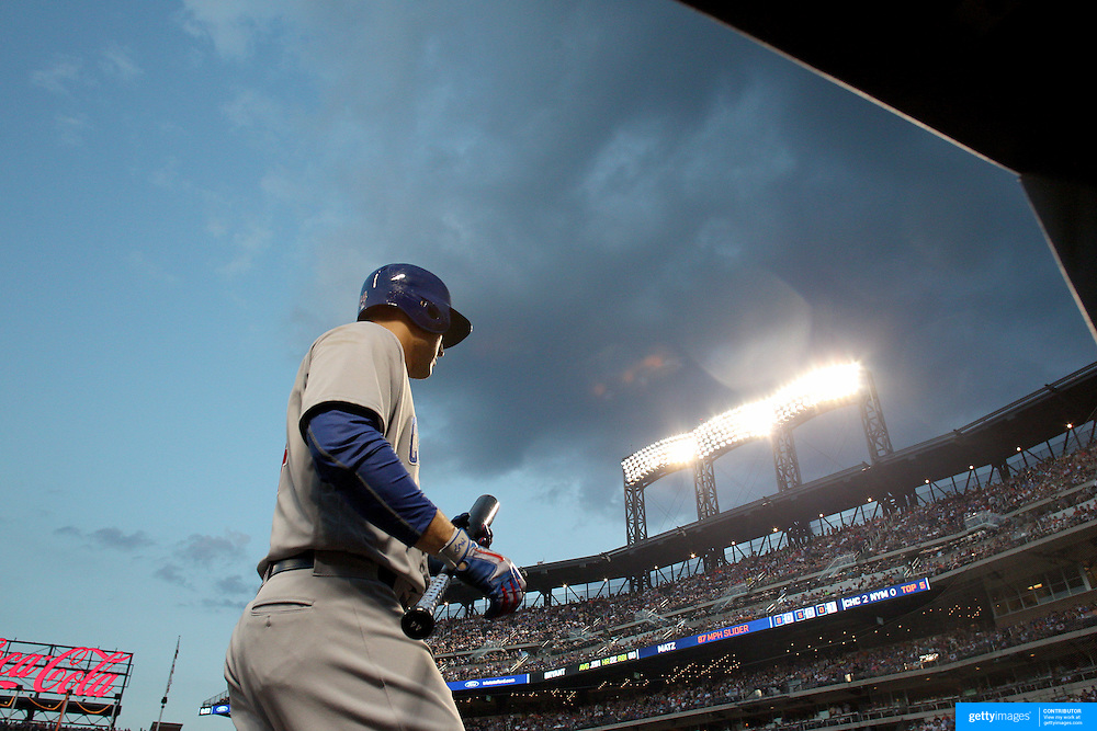 NEW YORK, NEW YORK - June 30: Anthony Rizzo #44 of the Chicago Cubs heads out to bat during the Chicago Cubs Vs New York Mets regular season MLB game at Citi Field on June 30, 2016 in New York City. (Photo by Tim Clayton/Corbis via Getty Images)