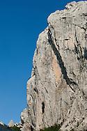 Anica kuk, a prominent limestone peak in Paklenica National Park, Southern Velebit Mountians, Croatia