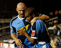 Photo: Daniel Hambury.<br />Fulham v Wycombe Wanderers. Carling Cup. 20/09/2006.<br />Wycombe's Jermaine Easter celebrates his goal with Tommy Mooney.
