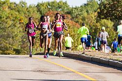 Boston Athletic Association Half Marathon, lead elite women's pack at halfway led by Mamitu Daska and Saina