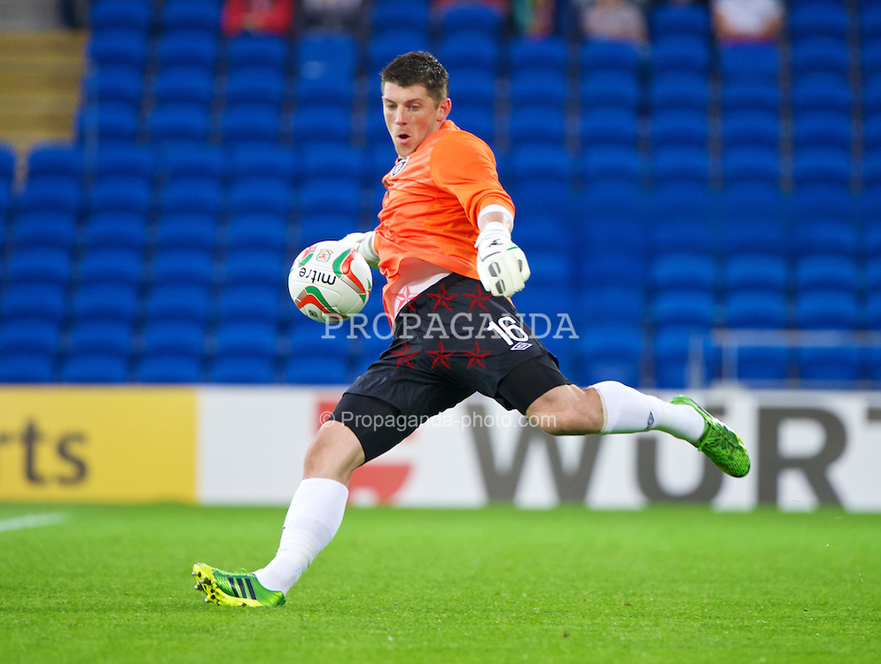 CARDIFF, WALES - Wednesday, August 14, 2013: Republic of Ireland's goalkeeper Kieren Westwood in action against Wales during an International Friendly at the Cardiff City Stadium. (Pic by David Rawcliffe/Propaganda)