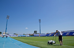 OSIJEK, CROATIA - Friday, June 7, 2019: Ground staff prepare the stadium before of a Wales training session at Stadion Gradski vrt ahead of the UEFA Euro 2020 Qualifying Group E match against Croatia. (Pic by David Rawcliffe/Propaganda)
