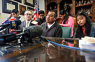 Immigrant Mario Vargas speaks in a news conference before a court appearance on Thursday, Feb. 9, 2017 in Los Angeles. Vargas attended his first removal hearing before an immigration judge since being released from Immigration Detention in 2014. He is accompanied by his daughter, Jersey, who, when she was 10, traveled to Rome three years ago and asked Pope Francis - one day before he was to meet with President Barack Obama - to intervene to prevent her father's deportation.  (Photo by Ringo Chiu/PHOTOFORMULA.com)<br /> <br /> Usage Notes: This content is intended for editorial use only. For other uses, additional clearances may be required.