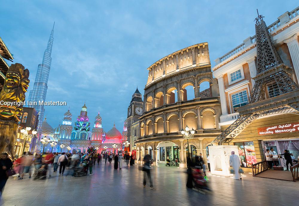 Evening view of international pavilions at Global Village 2015 in Dubai United Arab Emirates