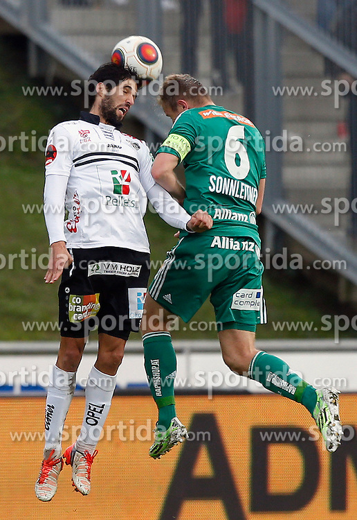 18.10.2015, Lavanttal Arena, Wolfsberg, AUT, 1. FBL, RZ Pellets WAC vs SK Rapid Wien, 12. Runde, im Bild v.l. Jacobo Maria Ynclan Pajares (RZ Pellets WAC) und Mario Sonnleitner (SK Rapid Wien) // during the Austrian Football Bundesliga 12th Round match between RZ Pellets WAC and SK Rapid Wien at the Lavanttal Arena in Wolfsberg Austria on 2015/10/18, EXPA Pictures © 2015, PhotoCredit: EXPA/ Wolfgang Jannach