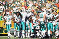GREEN BAY, WI - OCTOBER 17: Players of the Miami Dolphins celebrate a play during the game against the Green Bay Packers at Lambeau Field on October 17, 2010 in Green Bay, Wisconsin. The Dolphins defeated the Packers 23-20 in overtime. (Photo by Tom Hauck/Getty Images) *** Local Caption ***