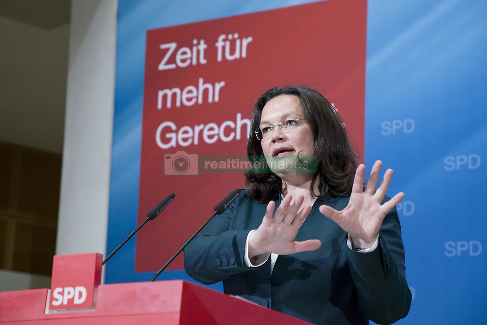 June 7, 2017 - Berlin, Germany - Federal Minister of Labour and Social Affairs Andrea Nahles is pictured during a news conference held with Chairman and Chancellor candidate of the Social Democratic Party (SPD) Martin Schulz (not in the picture) to present proposals for retirement policies at the SPD headquarters Willy-Brandt-Haus in Berlin, Germany on June 7, 2017. (Credit Image: © Emmanuele Contini/NurPhoto via ZUMA Press)
