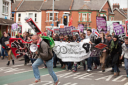 Luton, UK. 5th May, 2012. Supporters of Unite Against Fascism attend the We Are Luton/Stop The EDL march, organised by We Are Luton and Unite Against Fascism in protest against a march by around 3,000 supporters of the far-right English Defence League.