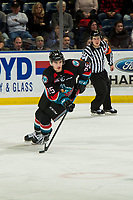 KELOWNA, CANADA - DECEMBER 5:  Kyle Crosbie #25 of the Kelowna Rockets skates with the puck against the Tri-City Americans on December 5, 2018 at Prospera Place in Kelowna, British Columbia, Canada.  (Photo by Marissa Baecker/Shoot the Breeze)