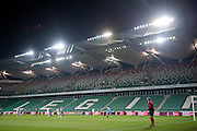 General view on the tribune without supporters during the UEFA Europa League Group J football match between Legia Warsaw and Apollon Limassol FC at Pepsi Arena Stadium in Warsaw on October 03, 2013.<br /> <br /> Poland, Warsaw, October 03, 2013<br /> <br /> Picture also available in RAW (NEF) or TIFF format on special request.<br /> <br /> For editorial use only. Any commercial or promotional use requires permission.<br /> <br /> Mandatory credit:<br /> Photo by &copy; Adam Nurkiewicz / Mediasport