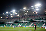 General view on the tribune without supporters during the UEFA Europa League Group J football match between Legia Warsaw and Apollon Limassol FC at Pepsi Arena Stadium in Warsaw on October 03, 2013.<br /> <br /> Poland, Warsaw, October 03, 2013<br /> <br /> Picture also available in RAW (NEF) or TIFF format on special request.<br /> <br /> For editorial use only. Any commercial or promotional use requires permission.<br /> <br /> Mandatory credit:<br /> Photo by © Adam Nurkiewicz / Mediasport
