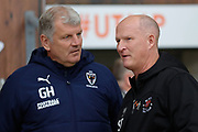 AFC Wimbledon Manager Glyn Hodges and Backpool Manager Simon Grayson   during the EFL Sky Bet League 1 match between Blackpool and AFC Wimbledon at Bloomfield Road, Blackpool, England on 16 November 2019.