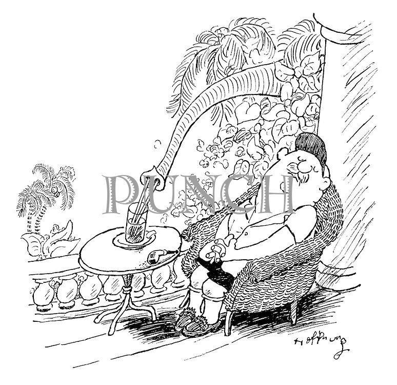 (A scene in the tropics with a man sitting fast asleep on a verandah with a drink in front of him. An elephant's trunk reaches out of the shrubbery to snorkel up the drink through two straws)
