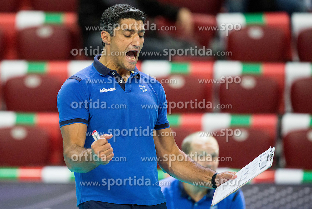 Andrea Giani, head coach of Slovenia reacts during volleyball match between National teams of Slovenia and Italy in 1st Semifinal of 2015 CEV Volleyball European Championship - Men, on October 17, 2015 in Arena Armeec, Sofia, Bulgaria. Photo by Vid Ponikvar / Sportida