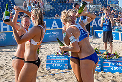 25-08-2019 NED: DELA NK Beach Volleyball, Scheveningen<br /> Last day NK Beachvolleyball / Julia Wouters #2, Pleun Ypma #2, Joy Stubbe #2