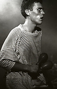 Bez onstage at a Happy Mondays gig at the Free Trade Hall in Manchester, 1989.