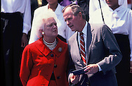 President G. W. Bush and First Lady Barbara Bush at an event on the South Lawn of the White House in Mary 1991<br /> Photo by Dennis Brack