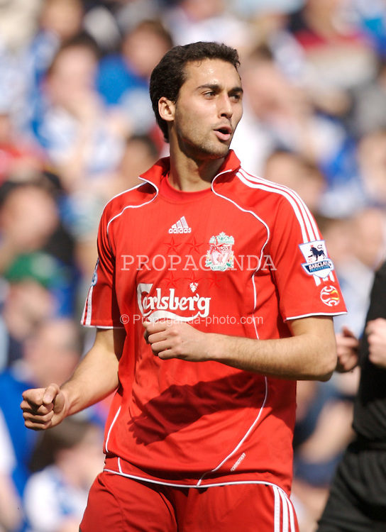 Reading, England - Saturday, April 7, 2007: Liverpool's Alvaro Arbeloa celebrates scoring the opening goal, and his first for the club, against Reading during the Premier League match at the Madejski Stadium. (Pic by David Rawcliffe/Propaganda)