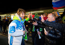 Zan Kosir with supporters at reception of Slovenia team arrived from Winter Olympic Games Sochi 2014 on February 25, 2014 at Airport Joze Pucnik, Brnik, Slovenia. Photo by Vid Ponikvar / Sportida