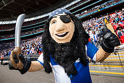 Captain Gas the Bristol Rovers mascot poses in front of the fans - Photo mandatory by-line: Rogan Thomson/JMP - 07966 386802 - 17/05/2015 - SPORT - FOOTBALL - London, England - Wembley Stadium - Bristol Rovers v Frimsby Town - Vanarama Conference Premier Play-off Final.