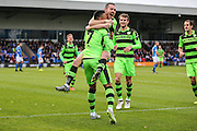 Forest Green Rovers Keanu Marsh-Brown(7) and Forest Green Rovers Liam Noble(15) celebrate the goal, 0-1 during the Vanarama National League match between Macclesfield Town and Forest Green Rovers at Moss Rose, Macclesfield, United Kingdom on 12 November 2016. Photo by Shane Healey.