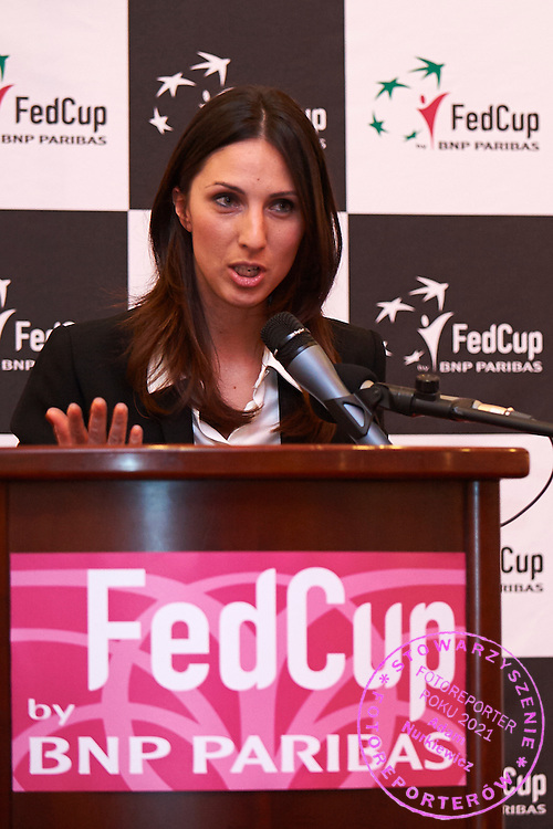 Anastasia Myskina from Russia trainer coach speaks during official dinner two days before the Fed Cup / World Group 1st round tennis match between Poland and Russia at Holiday Inn on February 5, 2015 in Cracow, Poland.<br /> <br /> Poland, Cracow, February 5, 2015<br /> <br /> Picture also available in RAW (NEF) or TIFF format on special request.<br /> <br /> For editorial use only. Any commercial or promotional use requires permission.<br /> <br /> Adam Nurkiewicz declares that he has no rights to the image of people at the photographs of his authorship.<br /> <br /> Mandatory credit:<br /> Photo by &copy; Adam Nurkiewicz / Mediasport