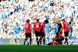 Manchester City's Pablo Zabaleta is booked - Photo mandatory by-line: Dougie Allward/JMP - Tel: Mobile: 07966 386802 22/09/2013 - SPORT - FOOTBALL - City of Manchester Stadium - Manchester - Manchester City V Manchester United - Barclays Premier League