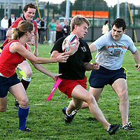 Shane Murphy trying to avoid Mike Reid  at the Volvic Tag Rugby Finals at Ennis Rugby Grounds on Thursday evening.<br /><br />Photograph by Eamon Ward