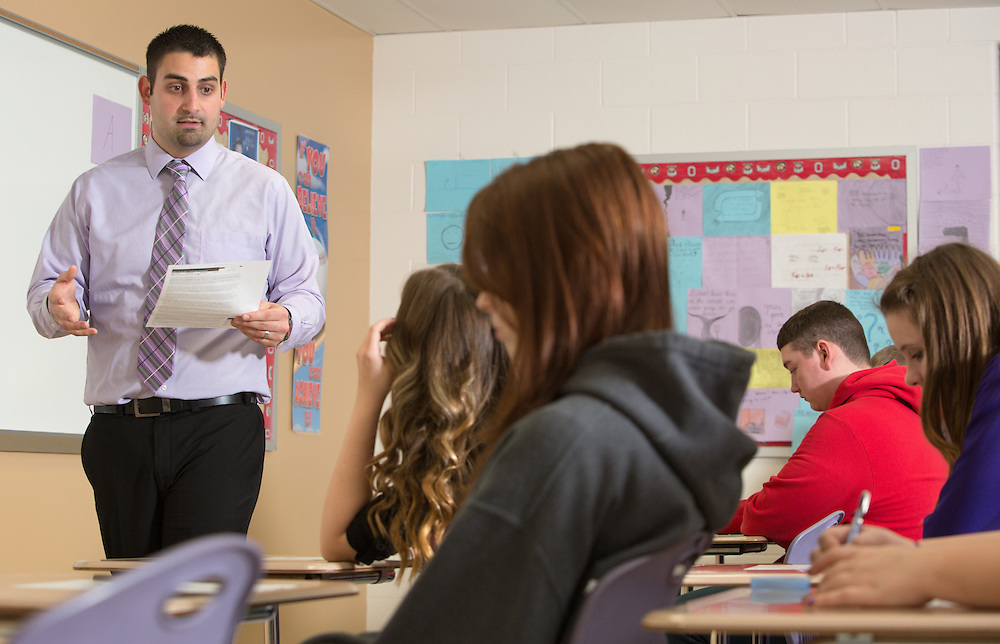 Kirby Seeger instructs students in his class at Logan High School. Photo by Lauren Pond
