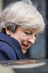 © Licensed to London News Pictures. 22/02/2017. London, UK. British prime minister THERESA MAY leaves 10 Downing Street in London to head to Parliament for Prime Ministers Questions. Photo credit: Ben Cawthra/LNP