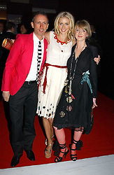 Left to right, PATRICK COX, DONNA AIR and her sister FRANCESCA at the Moet & Chandon Fashion Tribute 2005 to Matthew Williamson, held at Old Billingsgate, City of London on 16th February 2005.<br /><br />NON EXCLUSIVE - WORLD RIGHTS