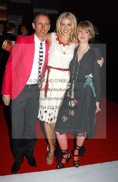 Left to right, PATRICK COX, DONNA AIR and her sister FRANCESCA at the Moet & Chandon Fashion Tribute 2005 to Matthew Williamson, held at Old Billingsgate, City of London on 16th February 2005.<br />